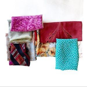 Vtg Bundle of 7 Multicolore Scarf Silk Floral